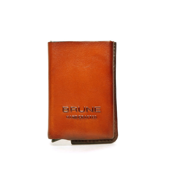 Tan Leather Hard Card Safe Case by BRUNE