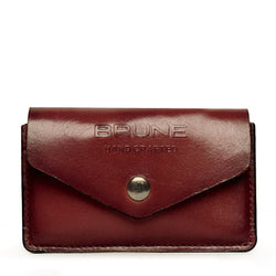 Brown Leather Snap Button Card Holder by BRUNE