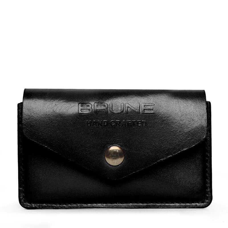 Black Leather Snap Button Card Holder by BRUNE