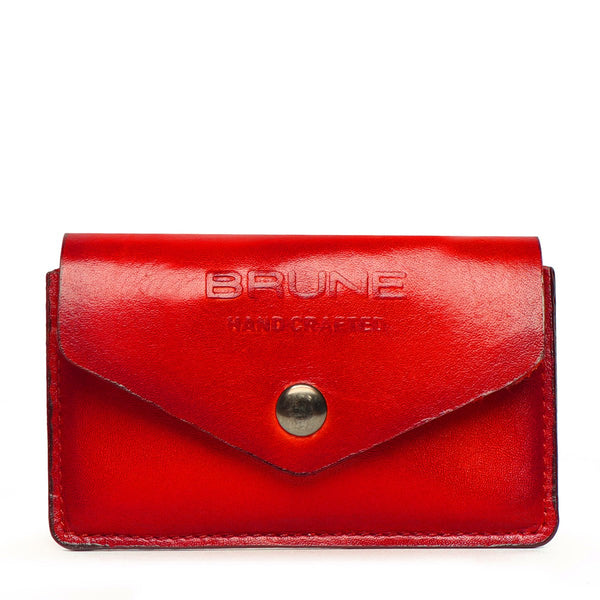 Red Leather Snap Button Card Holder by BRUNE