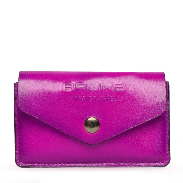 Pink Leather Snap Button Card Holder by BRUNE