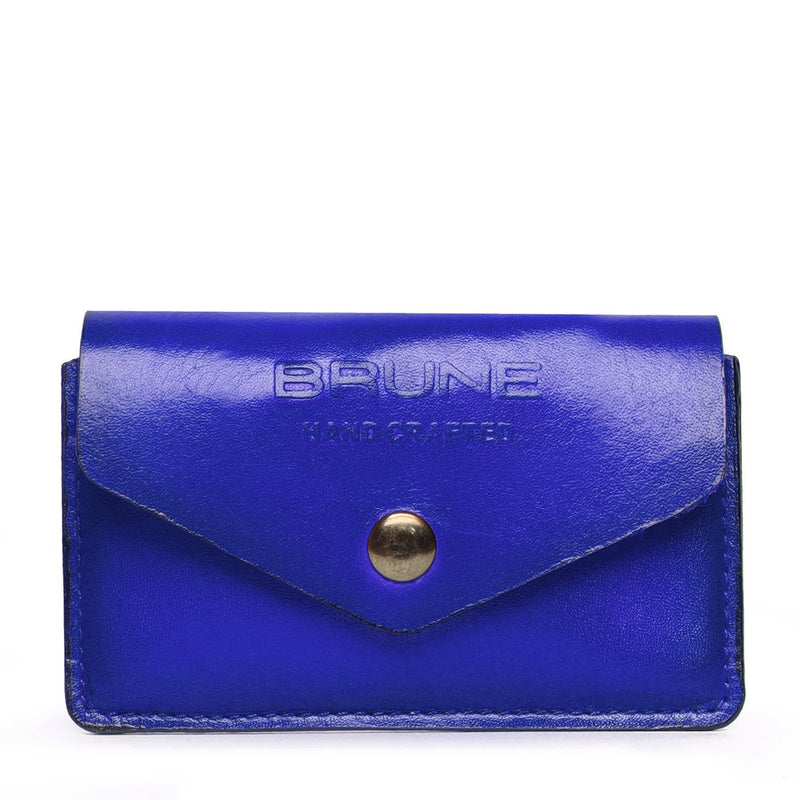 Blue Leather Snap Button Card Holder by BRUNE