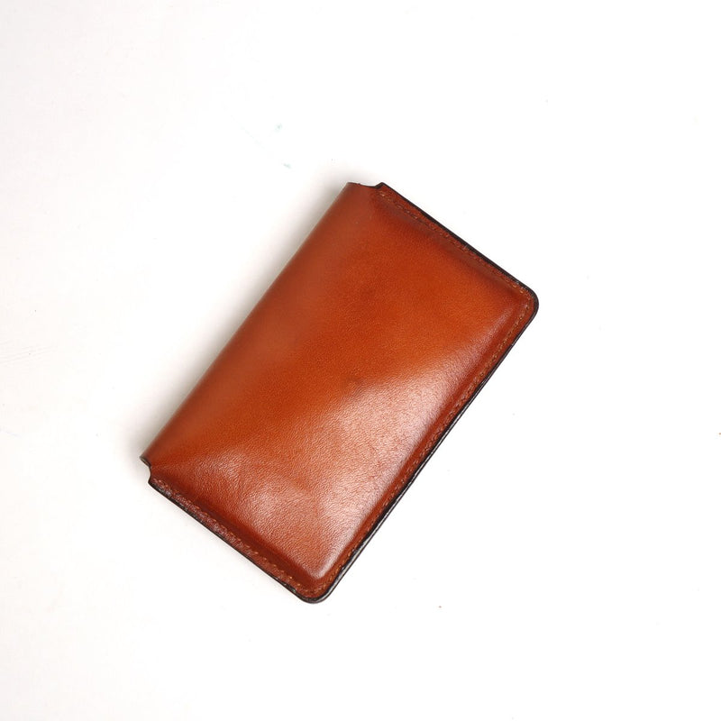 Tan Leather Snap Button Card Holder by BRUNE