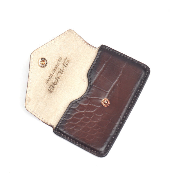 Brown Croco Print Leather Snap Button Card Holder by BRUNE