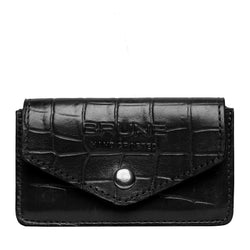 Black Croco Print Leather Snap Button Card Holder by BRUNE