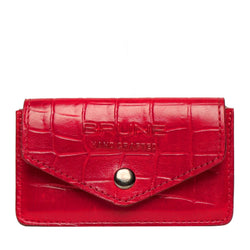 Red Croco Print Leather Snap Button Card Holder by BRUNE