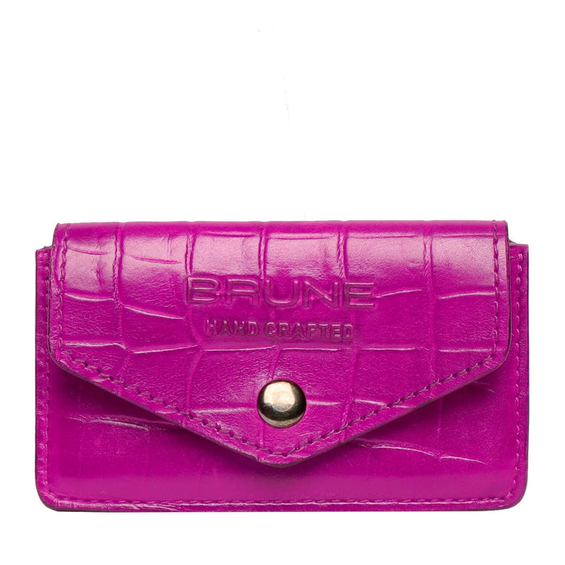 Pink Croco Print Leather Snap Button Card Holder by BRUNE