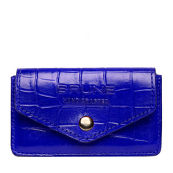 Blue Croco Print Leather Snap Button Card Holder by BRUNE