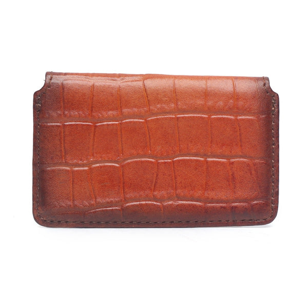 Tan Croco Print Leather Snap Button Card Holder by BRUNE
