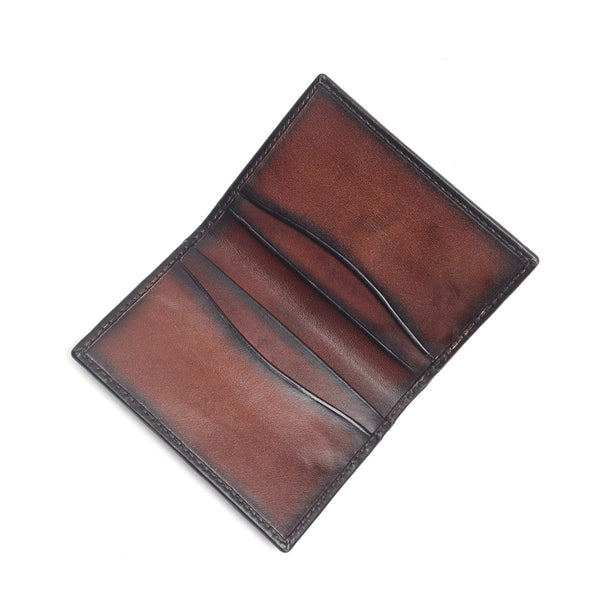 Brown Two Fold Leather Card Holder By Brune