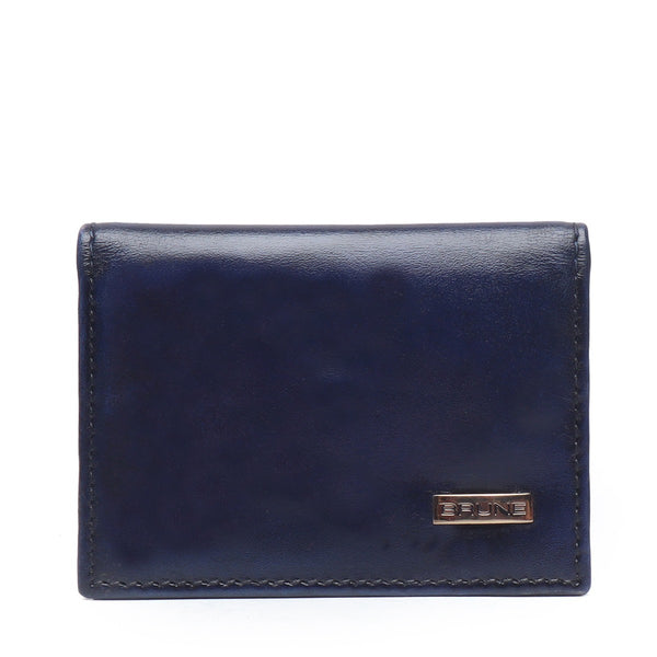 Blue Two Fold Leather Card Holder By Brune