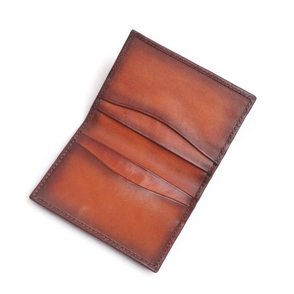 Tan Two Fold Leather Card Holder By Brune