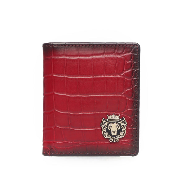 Wine Croco Two Fold Leather Card Holder By Brune