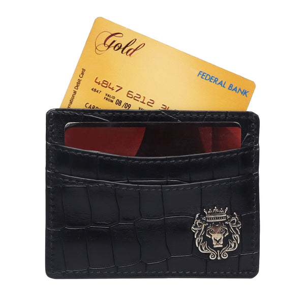 Black Croco Deep Cut Leather With Golden Lion Logo Card Holder By Brune