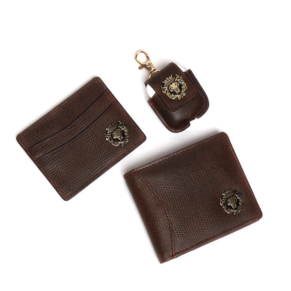 Combo of Dark Brown Pebbled Leather Cardholder, Wallet & Airpod Cover by Brune & Bareskin