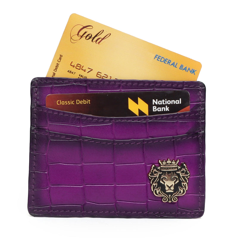 Pink Croco Deep Cut Leather With Golden Lion Logo Card Holder By Brune