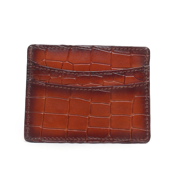 Tan Croco Deep Cut Leather With Golden Lion Logo Card Holder By Brune
