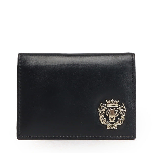 Black Leather Card Holder With Silver Metal Lion Logo by BRUNE & BARESKIN