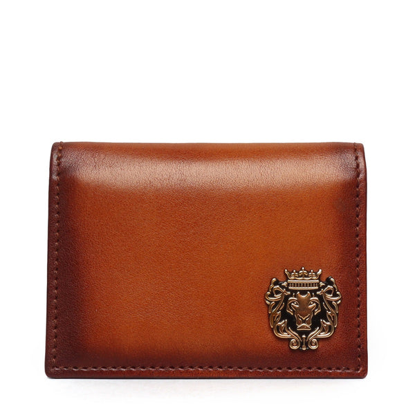 Tan Leather Card Holder With Metal Lion Logo by BRUNE & BARESKIN