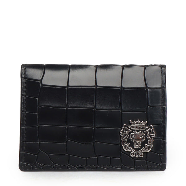 Deep Cut Black Croco Leather Card Holder by Brune & Bareskin