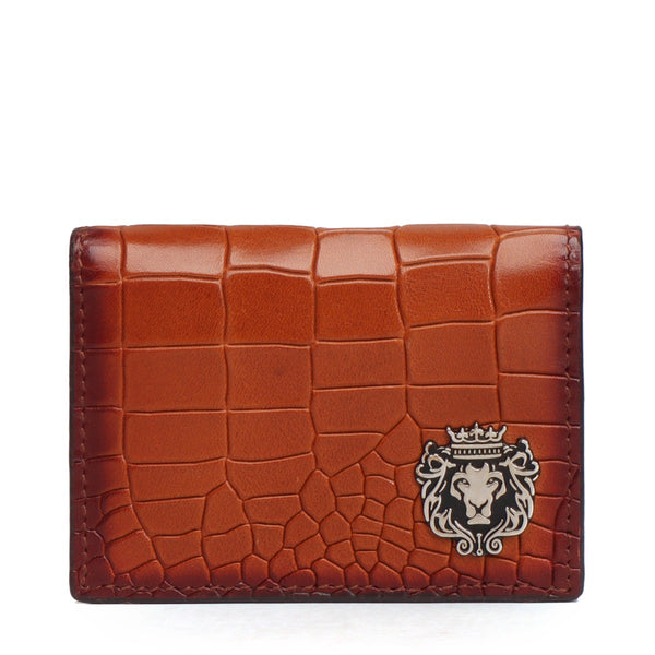 Tan Deep Cut Croco Leather Card Holder by Brune & Bareskin