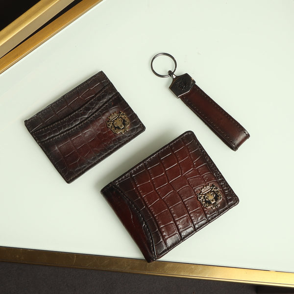 Brown Combo Croco Print Leather Wallet, Card Holder and Stylish Key Chain By Brune & Bareskin