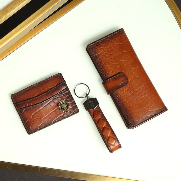 Tan Combo Croco Leather Long Wallet, Card Holder and Squired Design Key Chain by Brune & Bareskin