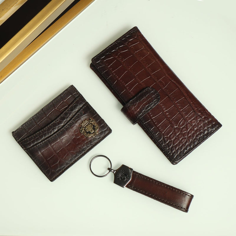 Brown Combo Croco Leather Long Wallet, Card Holder and Strap Style Key Chain By Brune & Bareskin