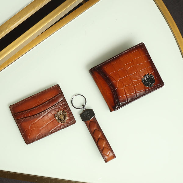 Tan Combo Croco Leather Wallet, Card Holder and Stylish Key Chain By Brune & Bareskin