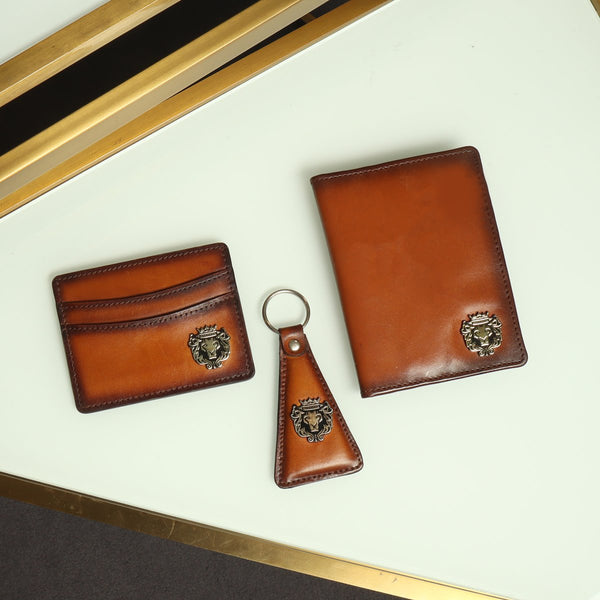 Tan Combo Leather Wallet, Card Holder and Stylish Key Chain By Brune & Bareskin