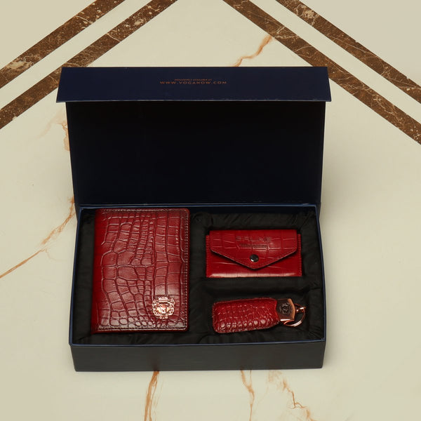 Wine Combo Croco Leather Passport Holder, Card Holder with Button and Stylish Key chain By Brune&Bareskin