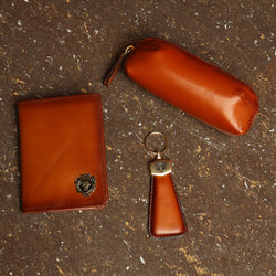 Tan Combo Leather Passport Holder, Sunglasses Cover and Stylish Key chain By Brune & Bareskin