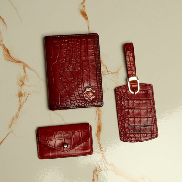 Wine Combo Croco Leather Passport Holder, Luggage Tag and Stylish Card Holder with Button By Brune&Bareskin