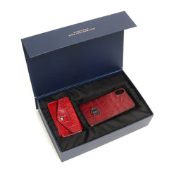 Wine Combo Croco Leather Mobile Cover and Leather Card Holder With Button By Brune&Bareskin