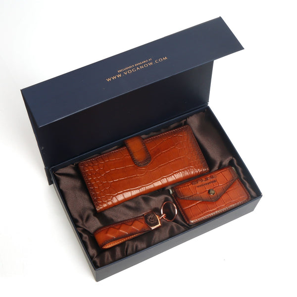 Tan Croco Textured Leather Long Wallet, Card Holder and Keychain by Brune & Bareskin
