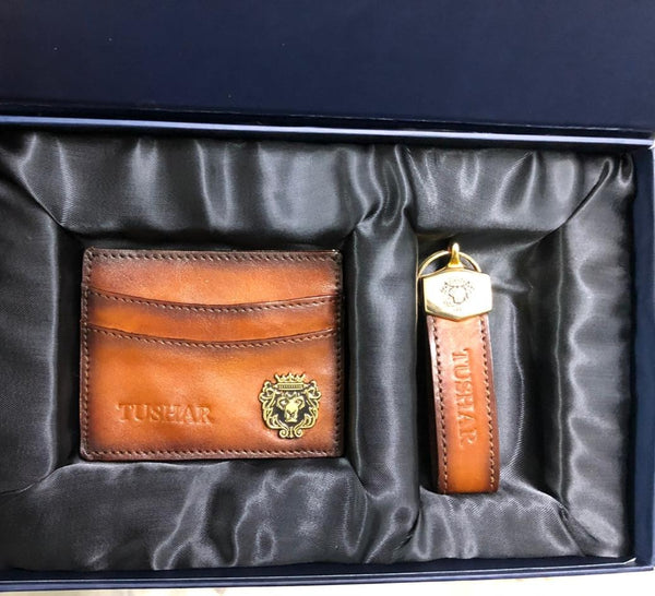 Tan Hand Colored Genuine Leather Card Holder and Keychain by Brune & Bareskin