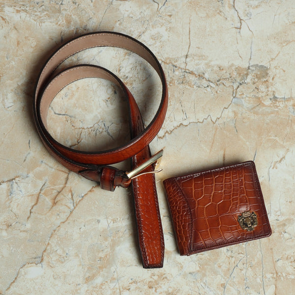 Tan Croco Print Leather Combo of Belt and Wallet by Brune & Bareskin