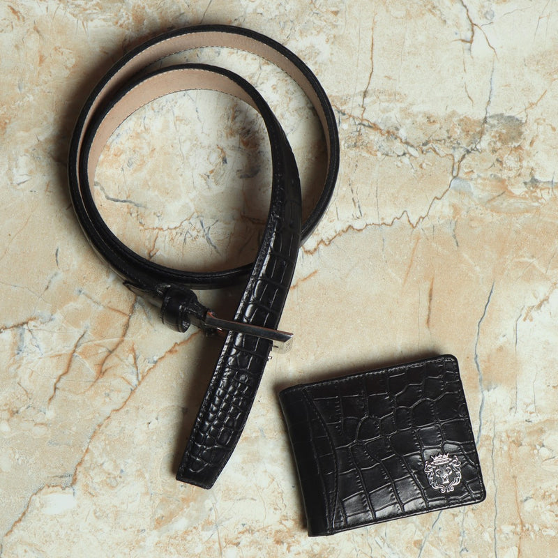 Black Croco Print Leather Combo of Belt and Wallet by Brune & Bareskin