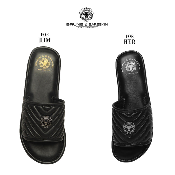 Combo for Him/Her of Black Leather Zigzag Strap Slide-in-Slippers by Brune & Bareskin