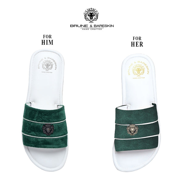 Combo for Him/Her of Green Velvet Strap White Leather Slide-In-Slippers by Brune & Bareskin
