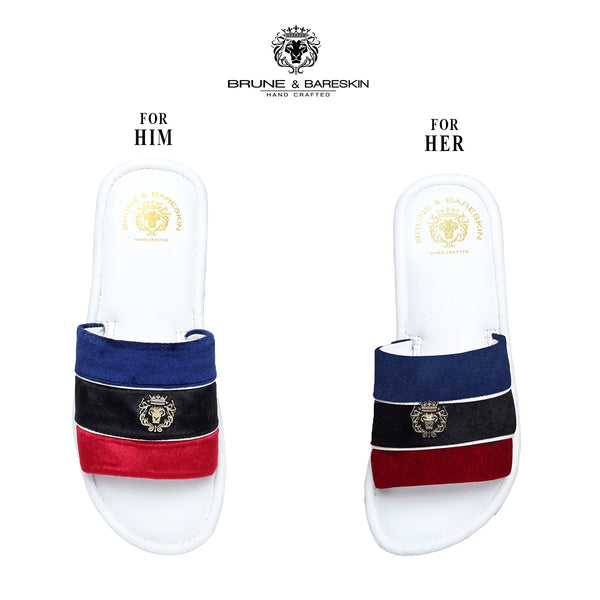 Combo for Him/Her of Blue-Black-Red Velvet Strap White Leather Slide-In-Slippers by Brune & Bareskin