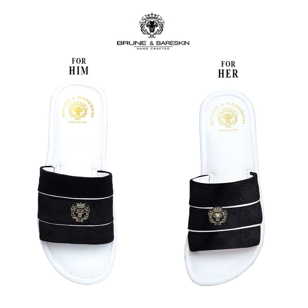 Combo for Him/Her of Black Velvet Strap White Leather Slide-In-Slippers by Brune & Bareskin