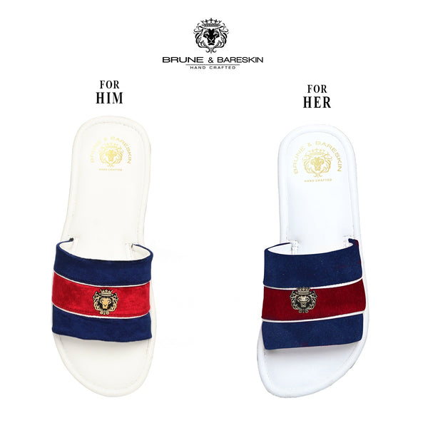 Combo for Him/Her of Blue-Red Velvet Strap White Leather Slide-In-Slippers by Brune & Bareskin