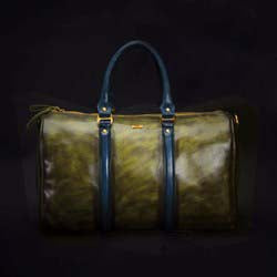Olive-Green crafted Leather Duffle Bag by Brune