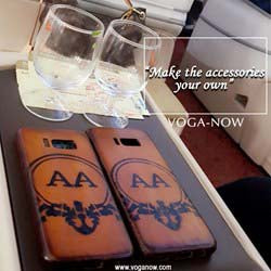Mobile Cover With Hand painted AA Initials on Tan Leather