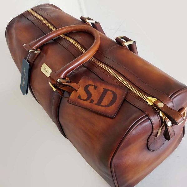 Handcrafted Tan Leather Duffle Bag With Your Name Initials by Brune