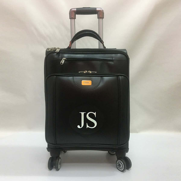 Custom-Made Black Trolly Bag With Your Name Initials by Brune