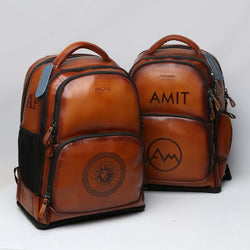 Tailored 2Pc of Tan Leather Backpack with Hand Painted Name Initials by Brune