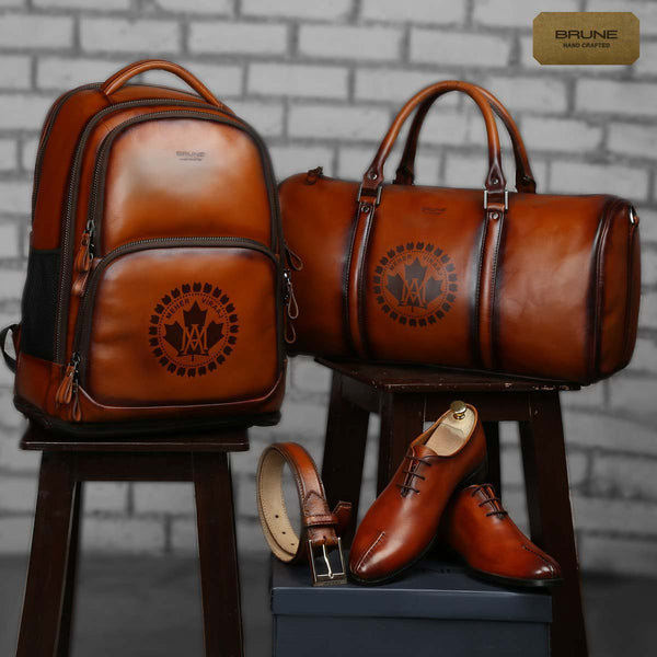 Tailored 4 pc combo of Shoe, Backpack, Belt & Duffle with desired logo