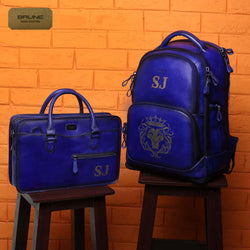 2 pc Customized Combo of Royal Blue Leather Backpack & Laptop Bag with RJ initials by Brune